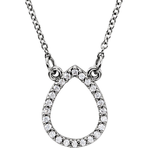 14kt White Gold 1/8 ct Diamond Teardrop 16in Necklace
