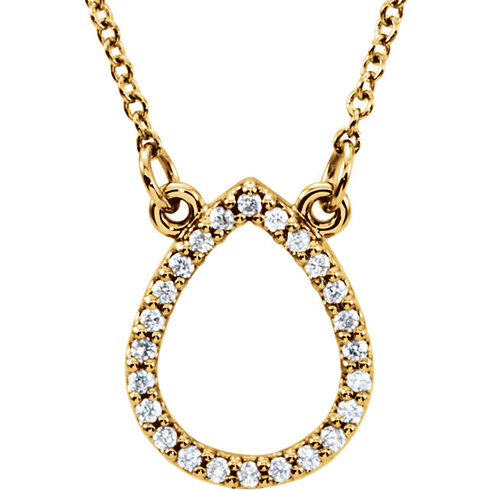 14kt Yellow Gold 1/8 ct Diamond Teardrop 16in Necklace