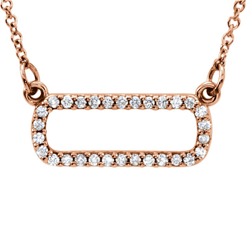 14kt Rose Gold 1/6 ct Diamond Soft Rectangle 16in Necklace