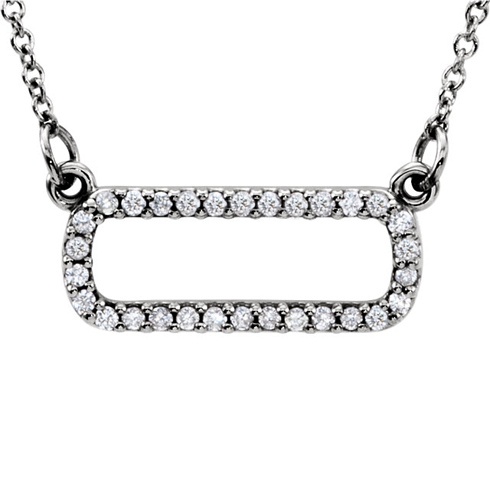 14kt White Gold 1/6 ct Diamond Soft Rectangle 16in Necklace
