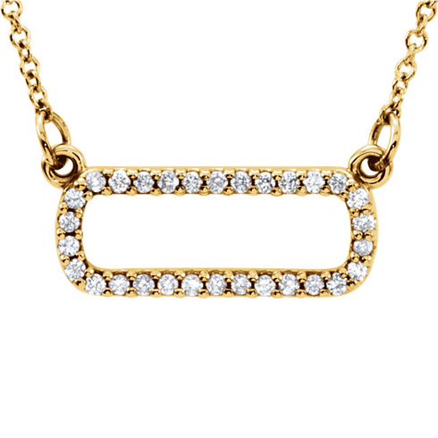 14kt Yellow Gold 1/6 ct Diamond Soft Rectangle 16in Necklace