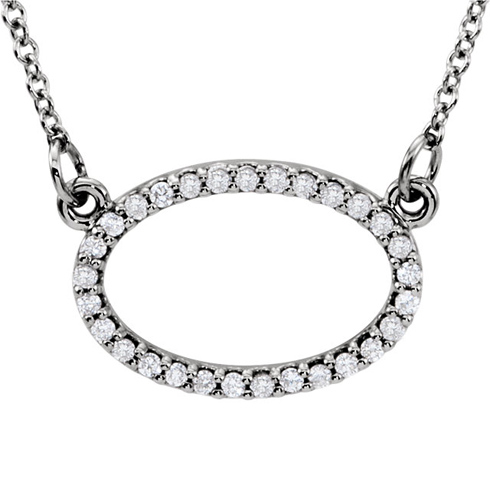 14kt White Gold 1/6 ct Diamond Oval 16in Necklace