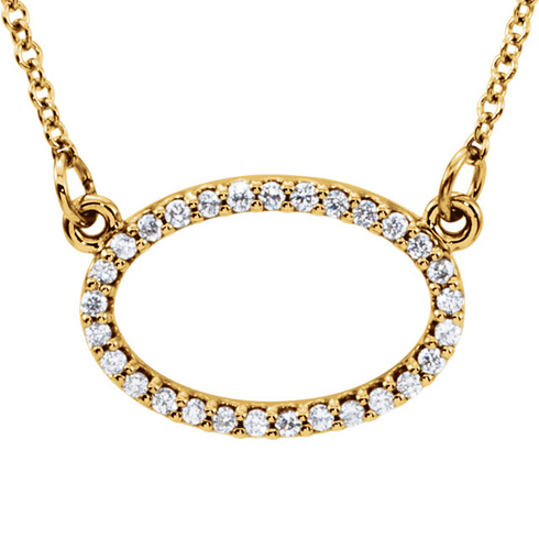 14kt Yellow Gold 1/6 ct Diamond Oval 16in Necklace