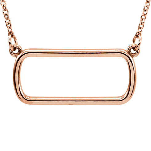 14kt Rose Gold Soft Rectangle 16in Necklace