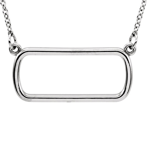 14kt White Gold Soft Rectangle 16in Necklace
