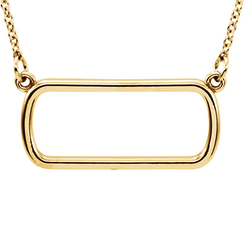 14kt Yellow Gold Soft Rectangle 16in Necklace