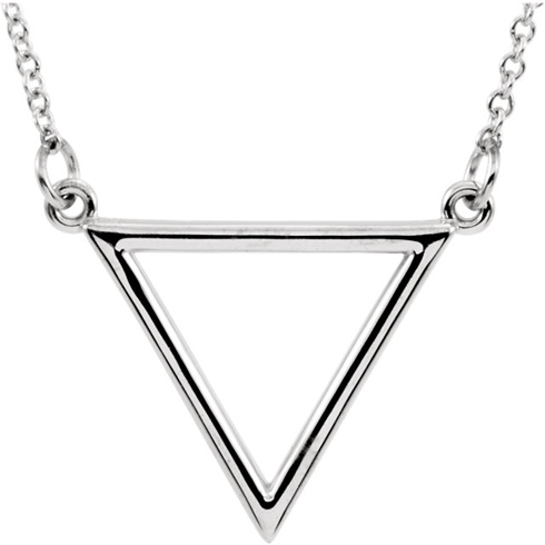 14kt White Gold Open Triangle 16in Necklace