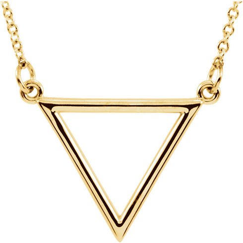 14kt Yellow Gold Open Triangle 16in Necklace