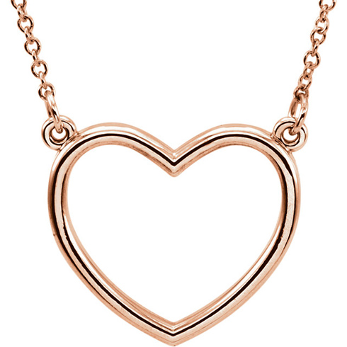 14kt Rose Gold 1/2in Open Heart on 16in Necklace