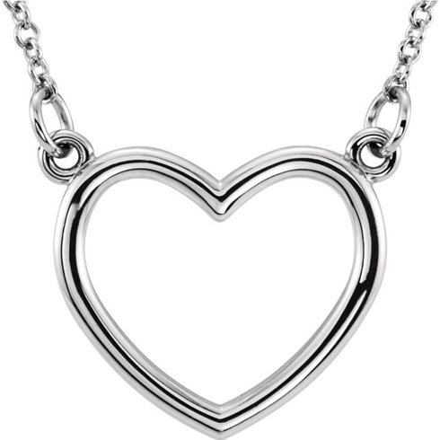 14kt White Gold 1/2in Open Heart on 16in Necklace