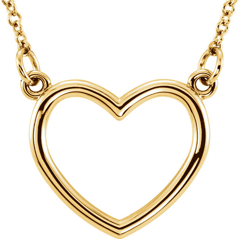14kt Yellow Gold 1/2in Open Heart on 16in Necklace