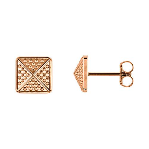 14kt Rose Gold Pebble Pyramid Earrings