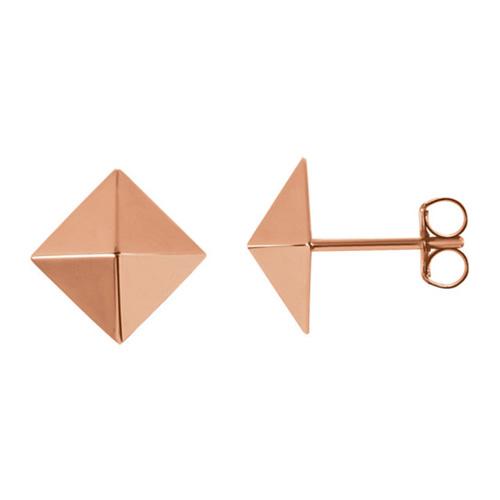 14kt Rose Gold Pyramid Design Earrings