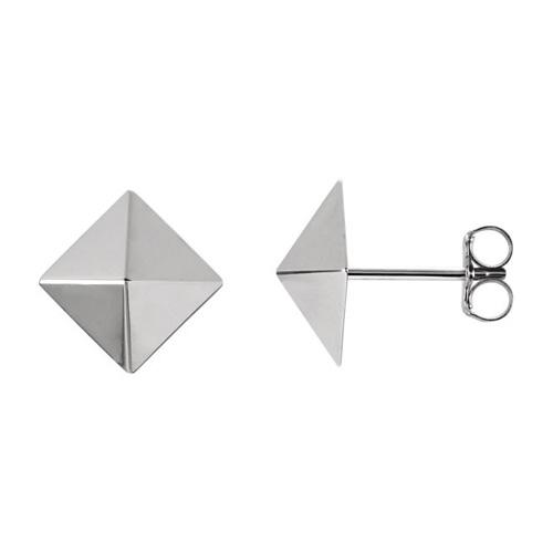 14kt White Gold Pyramid Design Earrings