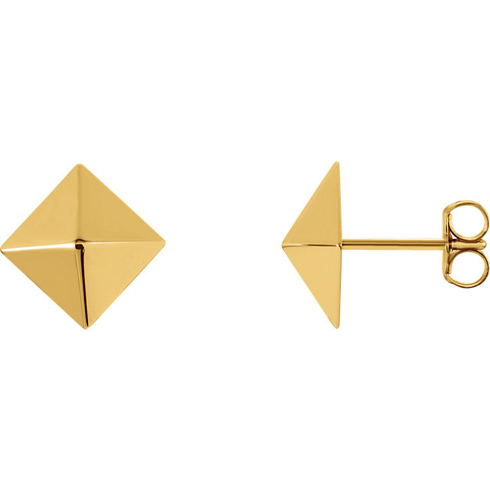 14kt Yellow Gold Pyramid Design Earrings