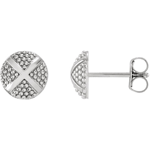 14kt White Gold Pebble X Stud Earrings