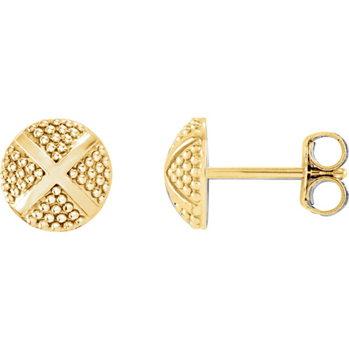 14kt Yellow Gold Pebble X Stud Earrings
