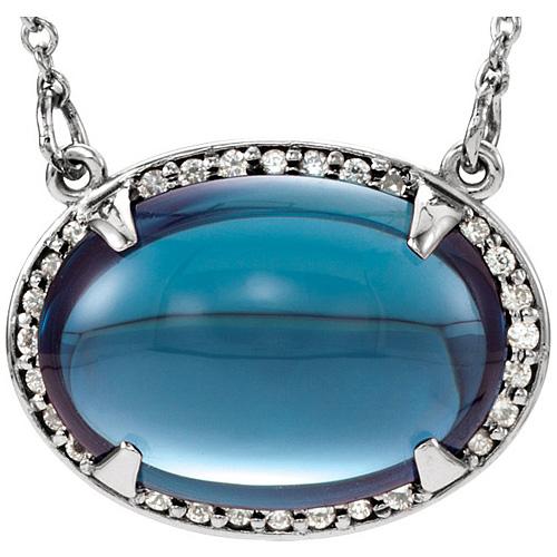 14kt White Gold 9 ct Oval London Blue Topaz & Diamonds 16.5in Necklace