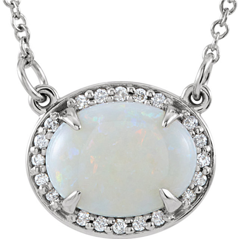 14kt White Gold 1.1 ct Oval Opal & Diamonds 16in Necklace