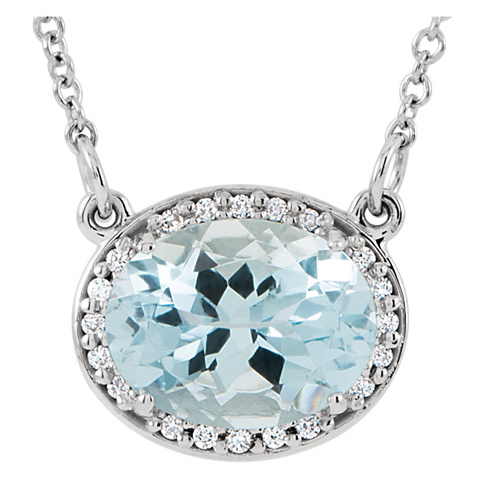 14kt White Gold 1.75 ct Aquamarine and Diamonds 16in Necklace