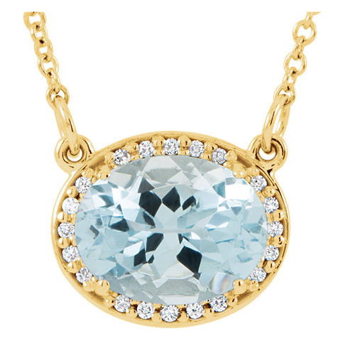 14kt Yellow Gold 1.75 ct Aquamarine and Diamonds 16in Necklace