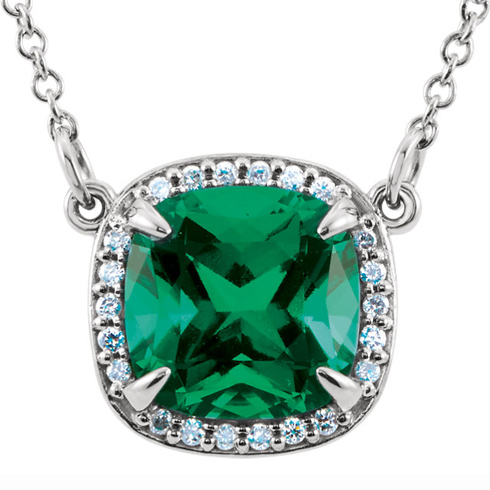 14kt White Gold 8mm Antique Square Created Emerald 16in Necklace with Diamond Accents