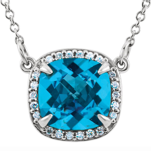 14kt White Gold 8mm Antique Square Swiss Blue Topaz 16in Necklace with Diamond Accents