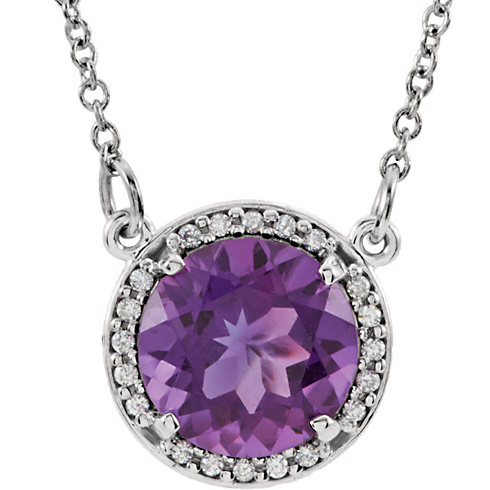 14kt White Gold 1.75 ct Amethyst Halo Necklace with 1/20 ct Diamonds