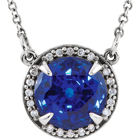 14kt White Gold 2.75 ct Created Blue Sapphire Halo Necklace with 1/20 ct Diamonds