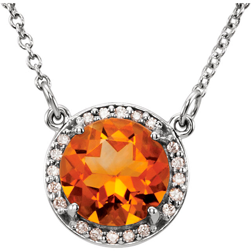 14kt White Gold 1.75 ct Citrine Halo Necklace with 1/20 ct Diamonds