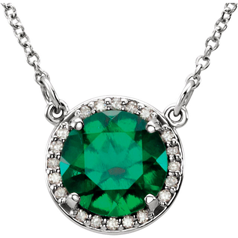 14kt White Gold 1.75 ct Created Emerald Halo Necklace with 1/20 ct Diamonds