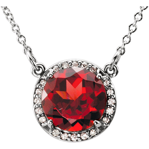 14kt White Gold 2.35 ct Garnet Halo Necklace with 1/20 ct Diamonds