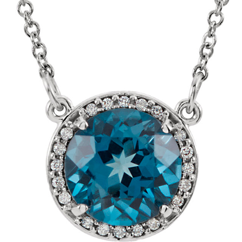 14kt White Gold 2.4 ct London Blue Topaz Halo Necklace with Diamonds