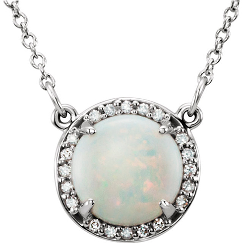 14kt White Gold 1 ct Opal Halo Necklace with 1/20 ct Diamonds