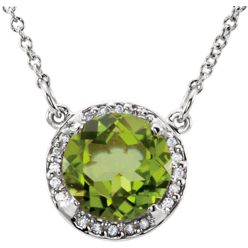 14kt White Gold 2.1 ct Peridot Halo Necklace with 1/20 ct Diamonds