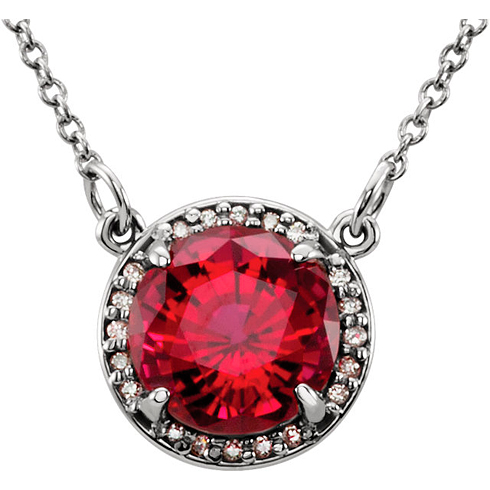 14kt White Gold 2.75 ct Created Ruby Halo Necklace with 1/20 ct Diamonds
