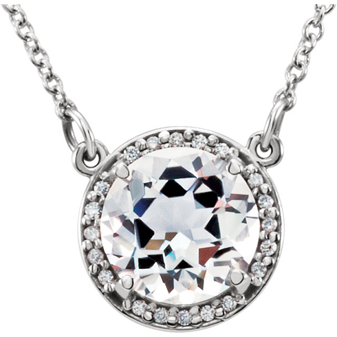 14kt White Gold 2.4 ct White Topaz Halo Necklace with 1/20 ct Diamonds