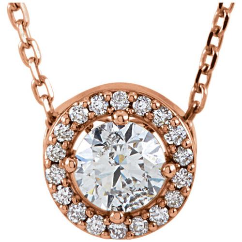 14kt Rose Gold Halo 1/4 ct Diamond Slide Necklace