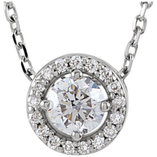 14kt White Gold Halo 1/4 ct Diamond Slide Necklace