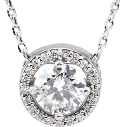 14kt White Gold Halo 1/2 ct Diamond Slide Necklace