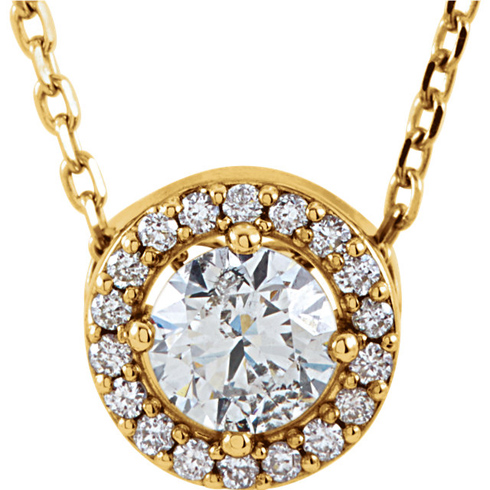 14kt Yellow Gold Halo 1/4 ct Diamond Slide Necklace