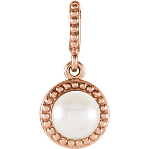 14kt Rose Gold 6mm Freshwater Cultured Pearl Beaded Pendant