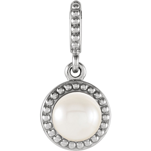 14kt White Gold 6mm Freshwater Cultured Pearl Beaded Pendant