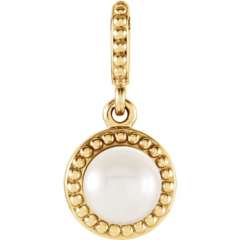 14kt Yellow Gold 6mm Freshwater Cultured Pearl Beaded Pendant
