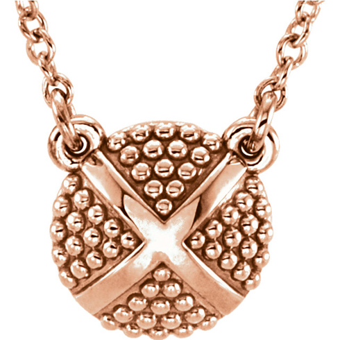 14kt Rose Gold Petite Beaded X 18in Necklace