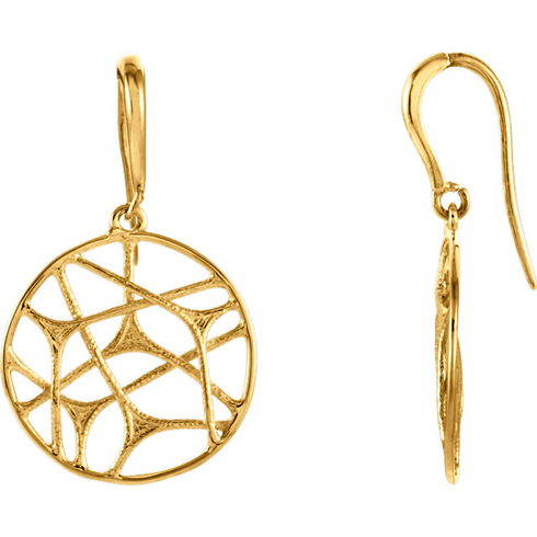 14kt Yellow Gold 3/4in Round Web Dangle Earrings