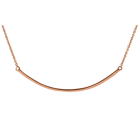 14kt Rose Gold Curved Bar on 18in Necklace