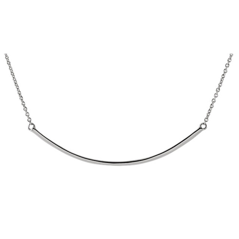 14kt White Gold Curved Bar on 18in Necklace