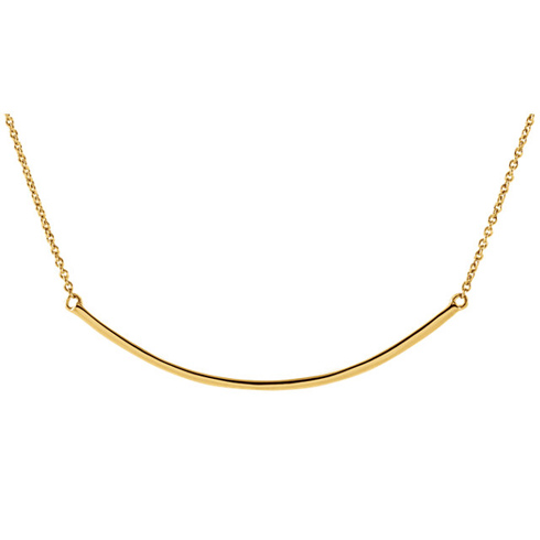 14kt Yellow Gold Curved Bar on 18in Necklace