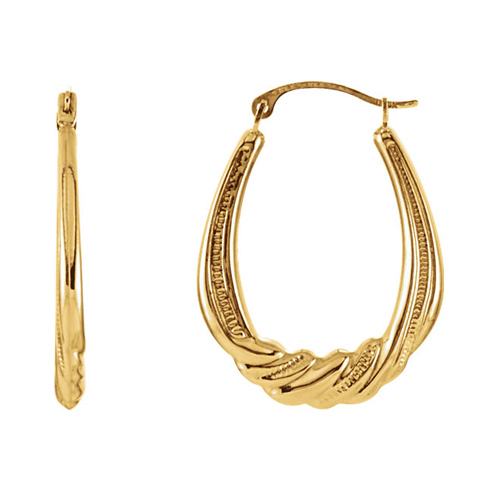 14kt Yellow Gold 1in Oval Twisted Hoop Earrings